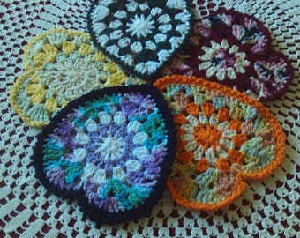 Set of 5, crocheted,hearts,100%cotton,appliques,decor,banners,gifts,party,pot holders,party,kitchen,Valentines