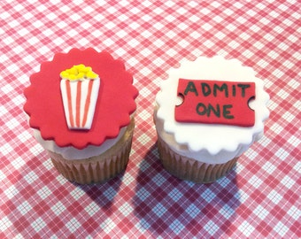 Fondant cupcake toppers Movie Carnival Popcorn Movie ticket toppers