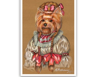 Yorkie Art Print / Lady Bow / Yorkshire Terrier / Dog Lover Gifts & Wall Art / Dog Portraits by Animal Century