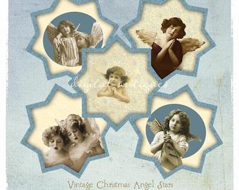 Vintage  Christmas Angel Stars Collage Sheet  Digital Download