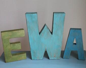 Hand Painted Farmhouse Style Monogram Letters. 3 piece Monogram Set Letters