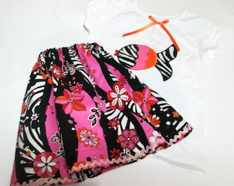 Toddler Girl Outfit, Girls Skirt and Top, Girls Clown Fish Top and Skirt Set, Girls Birthday Party Outfit, Girls Fashion