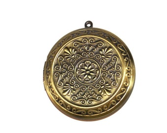 1.5 Inch 40mm Diameter Ornate  Floral Locket - Bronze Plated Brass - Large Round Photo Locket
