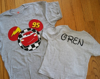 Disney Pixar Cars Inspired boy's shirt; Custom Disney Cars Mickey tee; Boy's Custom Cars shirt; Lightening McQueen shirt; Boy's disney shirt