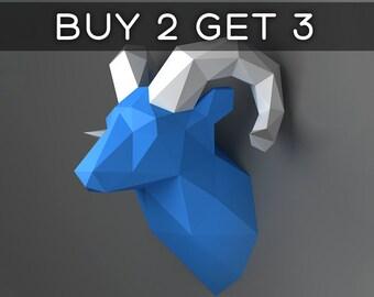Ram Head Trophy - 3D papercraft model. Downloadable DIY template