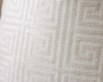 19.5 x 19.5 - Ready to ship - Last One - Sale Ivory Greek Key Pillow -  Chenille Geometric Pillow Cover