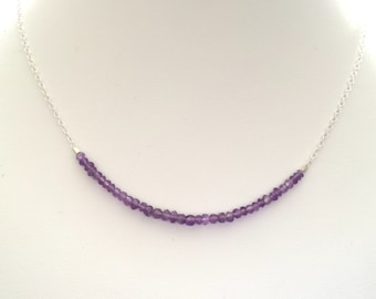 Amethyst & silver necklace, February birthstone necklace, gift for sister, layering necklace, bar necklace, Christmas gift, gift for her