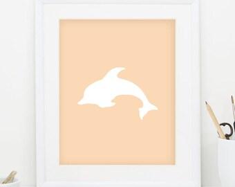 Nautical Nursery Print Dolphin Print White Dolphin Wall Art Downloadable Art Minimalist Print Dolphin Art Nautical Print Coral Print 0087