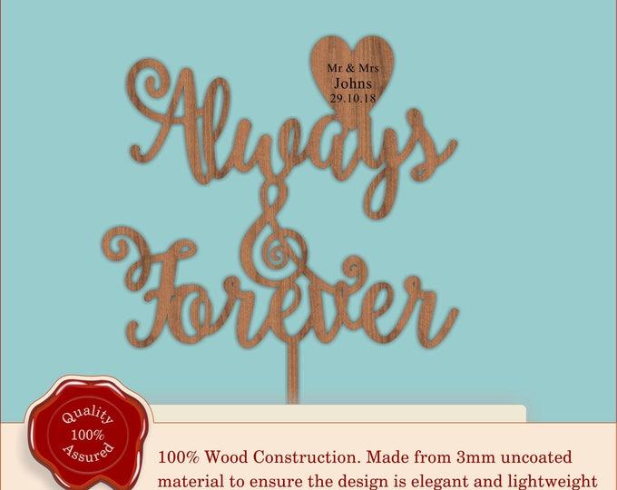 Always & Forever - Wooden Personalised Cake Topper. Vintage Weddings