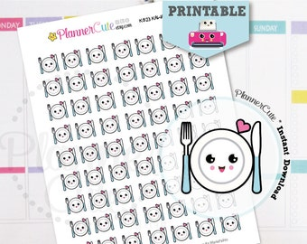 Dinner Time Stickers,  Printable Kawaii Dinner Reminder, Planner Stickers,  Cute Dish, Erin Condren, K023