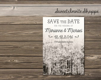 evergreen forest wedding save the date snow wedding christmas