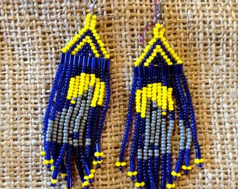 Vintage Beaded Earrings,Chandelier, Dangle, Blue and Yellow Beads