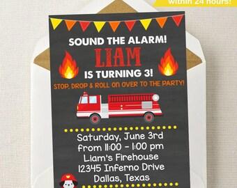 Fireman Invitation / Firetruck Invitation / Firefighter / Fireman Invitation / Fireman Birthday / Firehouse / Stop Drop Roll / Fire House