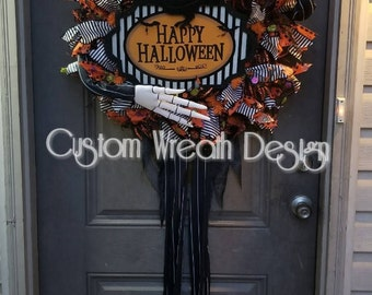 "Nightmare Before Christmas, Jack Skellington, Halloween wreath, 24""."