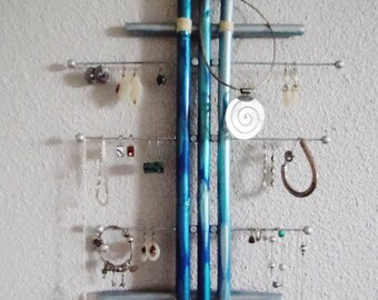 Silver Blue bamboo wall jewelry holder