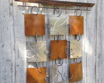 Silver Abstract Metal Wall art sculpture  wall Hanging Garden by Holly Lentz