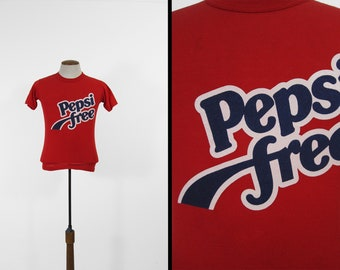 Vintage 80s Pepsi Free T-shirt Soft and Thin Red Crewneck Made in USA - Small / XS
