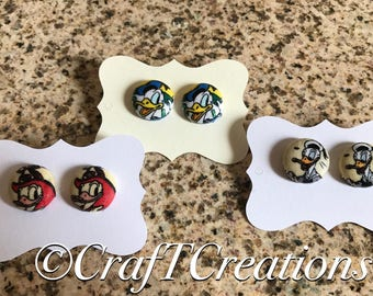 Disney Donald Duck Nickel Free Water Resistant Fabric Button Earrings