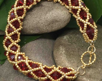 Swarovski Siam Red and gold beaded bracelet