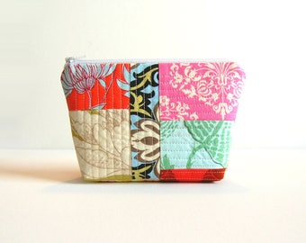 Quilted Patchwork, Makeup Bag, Cosmetic Case, Toiletry Storage, Zipper Pouch, Women and Teens, Amy Butler