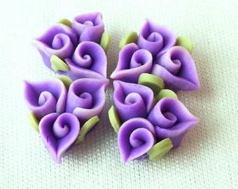 4pcs Unique Fimo Flower,Violet
