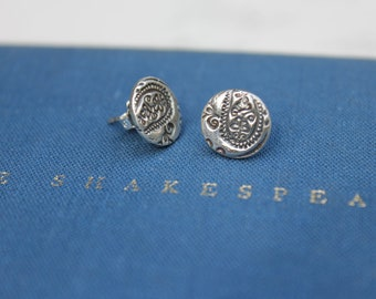 sale silver post earrings .  tiny paisley stud earrings . recycled sterling silver paisley post earrings
