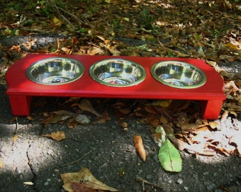 Red Elevated Pet Feeder, Small Dog or Cat Feeding Station, Dog Bowls, Pet Feeding, Three One Pint Bowls, Modern Look, Made to Order