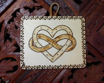 """4"""" Infinity Heart Plaque - Pyrography Art, Wooden Plaque, Wall Art, Wood Burned Plaque, Infinity Heart Art"""