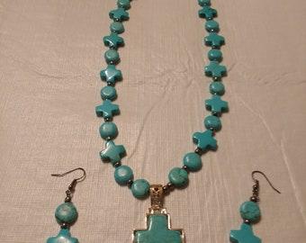 Cross Rd Bead Necklace w/ Howlite Cross Pendant Set (N126)
