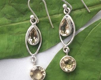 Citrine Earrings, 925 Sterling Silver Earrings, Natural Gemstone Earrings, November Birthstone Earrings, Gift For Her