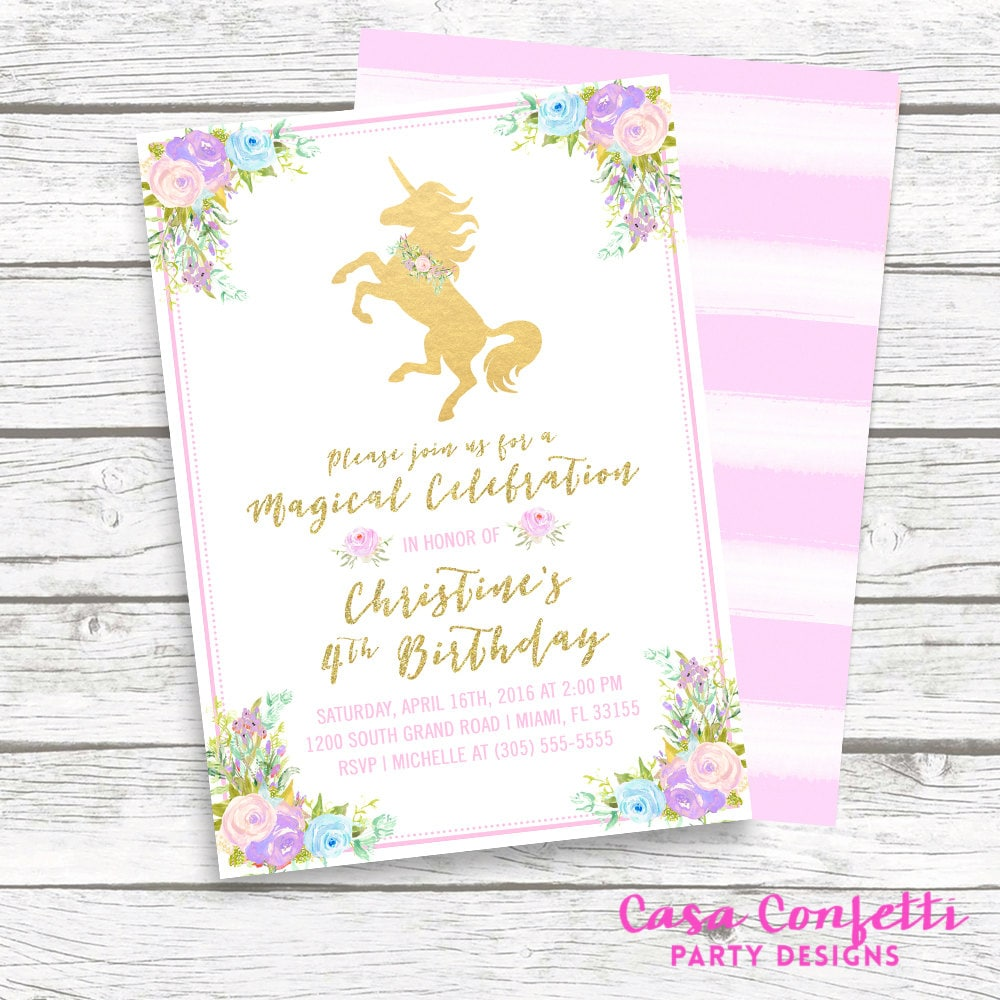 Unicorn Invitation Birthday Girl 1st