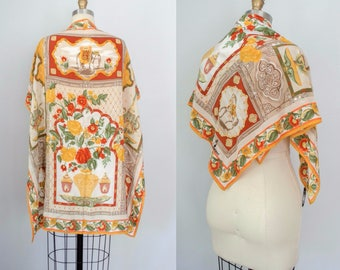 1970s vintage scarf / Italian silk scarf / horses and elephant / Selavi