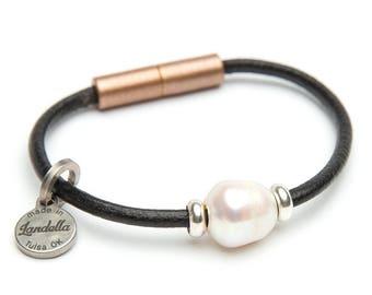 Copper Shimmer Leather Magnetic Landella Freshwater Pearl Bracelet