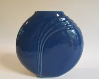 Blue Vase, Vintage Round Modern Minimalist Mid Century Design, Cottage Decor Flower Container Art Deco