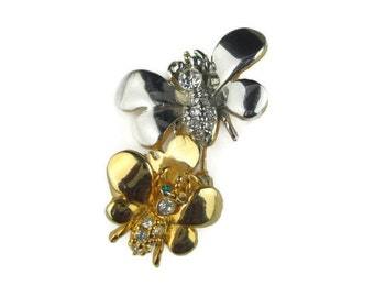 Vintage Butterfly Rhinestone Gold and Silver Tone Trembler Lapel Pin