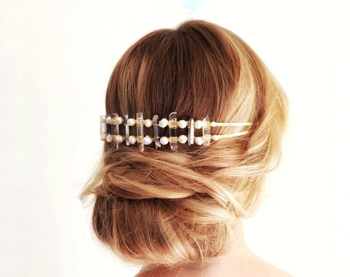 Boho wedding headpiece, Festival Headpiece, Bohemian Bride Hair Piece, Raw Crystal Headband, Quartz Hair accessory, modern wedding headband
