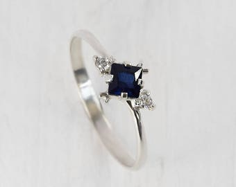 Sapphire ring silver, Anniversary ring, Blue sapphire ring, Blue stone ring, Art deco ring, Sapphire jewelry, Modern ring silver
