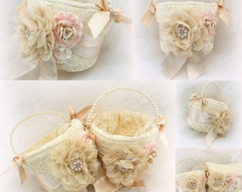 Flower Girl Baskets in Champagne Blush and Ivory Wedding Lace Baskets with Pearl Handle Vintage Style