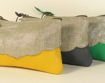 NELL shiny linen and green leather