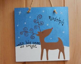 Christmas Reindeer sign, Christmas sign, Rudolph decoration, Christmas decoration, Baby's first Christmas gift