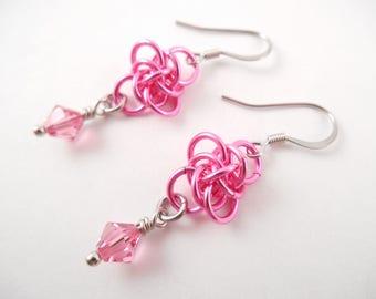 Pink Persephone Earrings - Pink Swarovski & Metal Persephone Chain Maille Earrings