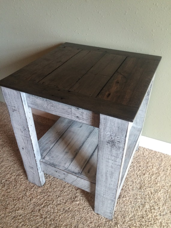 Lovely Rustic Two Tone End Table