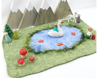 Pond Playscape Green Play Mat - wool felt pretend play storytelling Fairy Fairies Woodland landscape River Stream