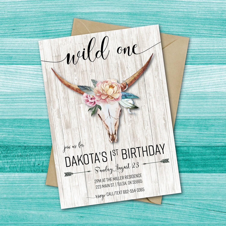 Wild One Birthday Invitation Tribal Birthday Invitation
