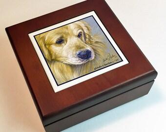 Golden Retriever Dog Art Tile on Mahogany Wood Keepsake/ Jewelry Box