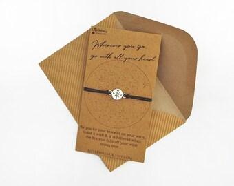 Compass Friendship Bracelet // Travel Gift • Graduation Gift • Constellation Jewellery • Wish Bracelet • Boho Jewellery • Best Friend Gift