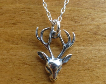 STERLING SILVER Small Stag Pendant Necklace or Earrings - Chain Optional