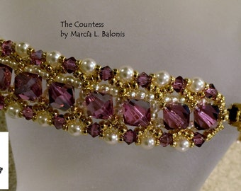 PATTERN Tutorial The Countess Bracelet Pearls BI-Cone Crystals