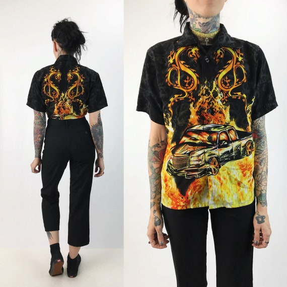 90's Flaming Dragon Low Rider Truck Short Sleeve Button Up XS/S - Grunge Flames Fire Shirt Button Front Boys Car Shirt - Rave Y2K Flames Top