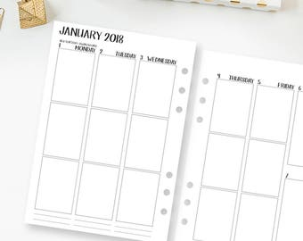 A5 2018 Complete Vertical printed planner calendar - monthly & weekly - month on two pages - week on two pages -  Mo2P Wo2P